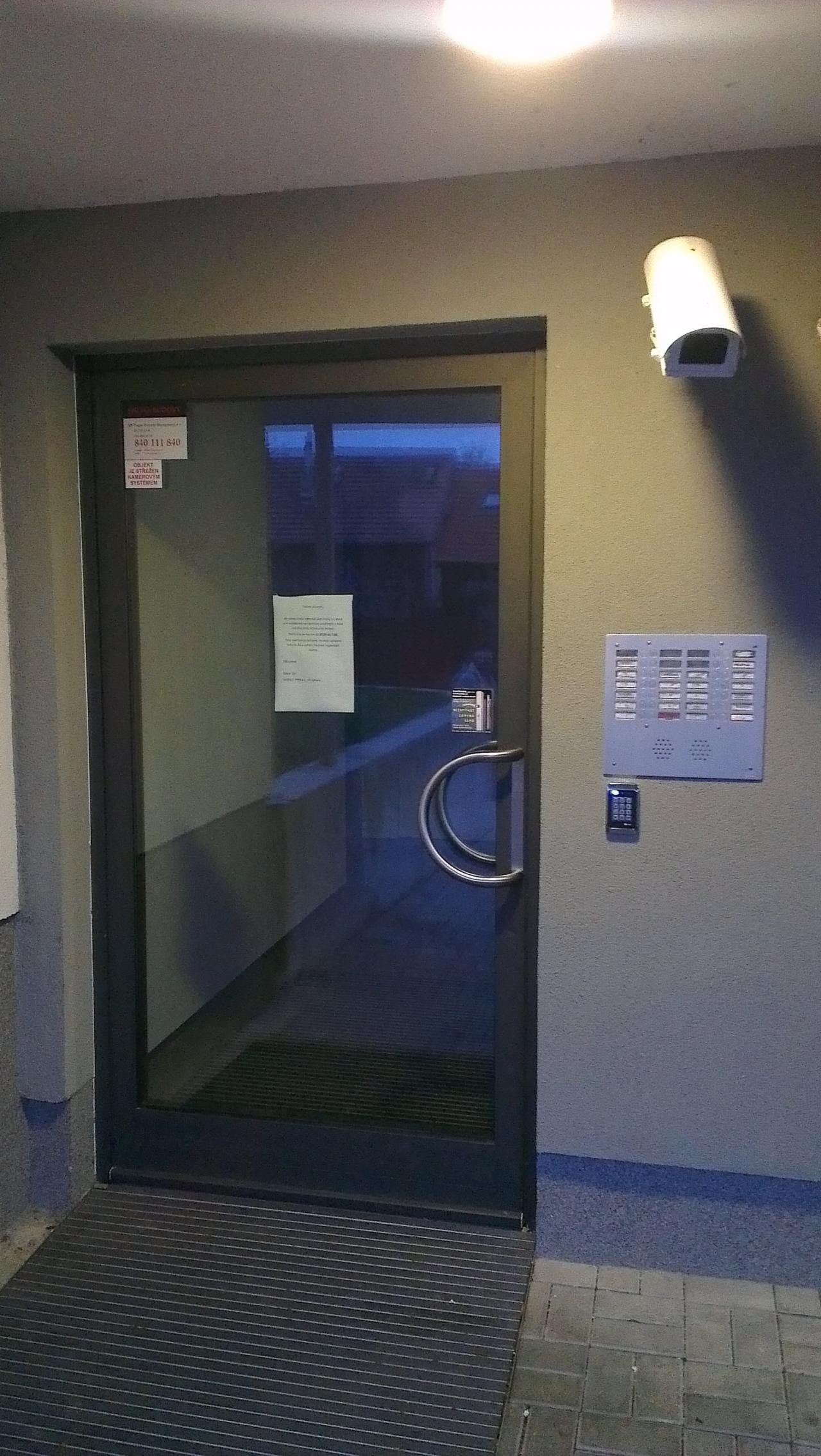Hliníkové dveře - kamerový systém + Elektromagnetický zámek