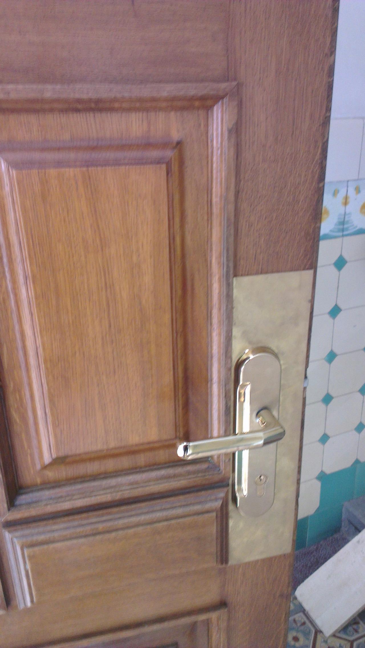 Repase dřevěných dveří  - zámek Bera s mosazným krycím plechem